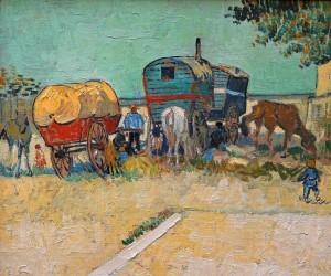 Les roulottes, campement de bohémiens par Vincent Van Gogh
